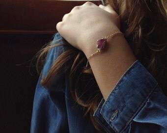 Rough Raw Ruby Gemstone Gold Bracelet