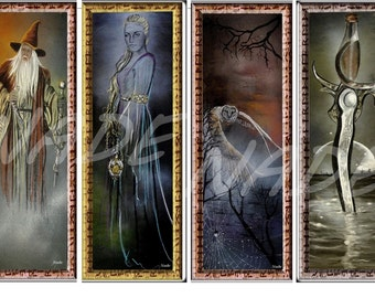 "Set of 4 bookmarks illustration ""artist NADE"". Fantasy"