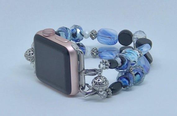 """Apple Watch Band, Women Bead Bracelet Watch Band, iWatch Strap, Apple Watch 38mm, Apple Watch 42mm, Light Blue, White, Black Size 7 3/4""""- 8"""""""