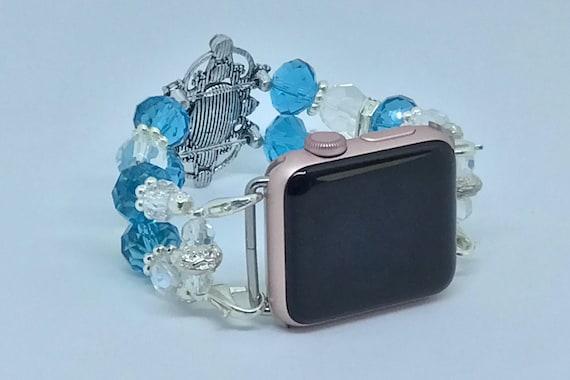 """Apple Watch Band, Women Bead Bracelet Watch Band, iWatch Strap, Apple Watch 38mm, Apple Watch 42mm, Turquoise Blue, Crystal Clear 6 3/4"""" -7"""""""