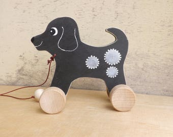 Wooden pull and push toy Dog in black, hand cut hand-painted toys for kids for toddlers, pull along wood toy dog on wheels personalized gift