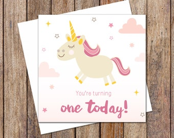 Birthday Card. Greeting Card. First Birthday Unicorn Card. Girl Birthday Card. Gift Card. Girl Unicorn Theme Birthday Card