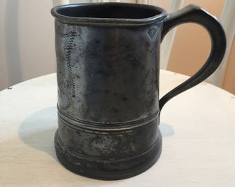 VICTORIAN PEWTER QUART beer mug