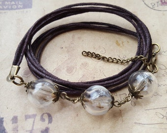 Bracelet with 3 dandelions glass balls