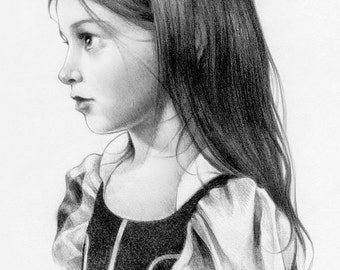 Child Portrait,Portrait from Photo,Child Pencil Portrait,Child Pencil Drawing,Custom Pencil Portrait,Perfect Gift,Black and White Portrait,