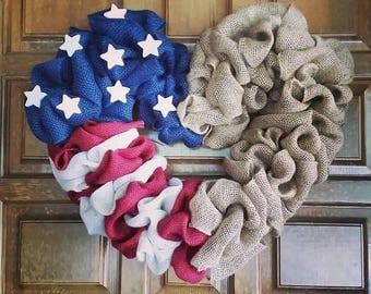 American flag burlap wreath.