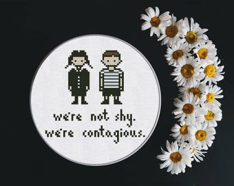 Cross Stitch Pattern Pugsley and Wednesday Addams Instant Download PDF Counted Chart