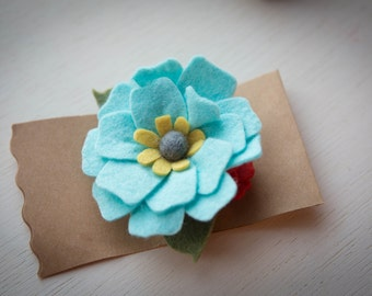 Felt Flower Hair Clip//Blue and Coral Red