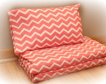 Nap Mat Cover & Travel Sized Pillowcase -Kindermat Cover - Preschool- Daycare - Chevron - Blue or Coral- Kindergarten