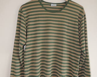 FREE SHIPPING - Vintage MARIMEKKO Green and sand brown striped 100% Cotton long sleeve top, Made in Finland, size M Man's