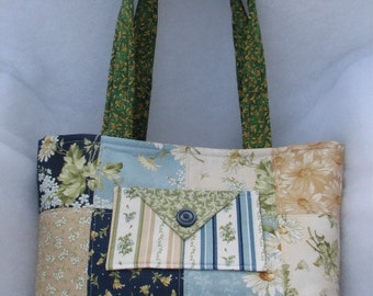 Blue and Green Quilted Summer Bag