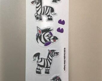 Sandylion Stickers Vintage Fuzzy Zebra, Zebras   (1 strip)