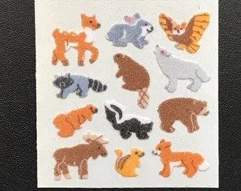 Sandylion Stickers Fuzzy Vintage Rare Mini Forest Animal, Animals, bear, raccoon, rabbit, owl, deer, skunk     (1 mod)