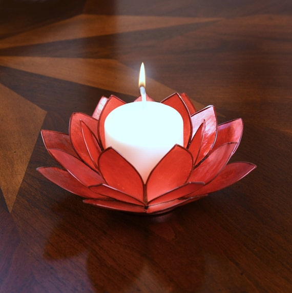 Deep Orange Lotus Flower Capiz Shell Candle Holder - A Real Jewel of a Gift and Keepsake