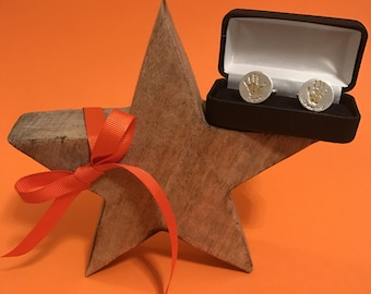 Round Mens Personalised Silver Cufflinks with GOLD Hand & Foot Prints