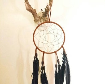 Dream Catcher   Black Rooster Feathers   HANDMADE   #8