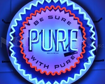 NEW Pure Motor Oil Company Service Station Gas Porcelain Real Neon Sign Light