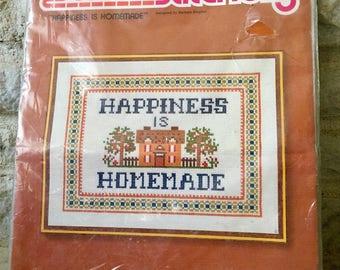 vintage counted cross stitch kit sunset stitchery happiness is homemade 2663 barbara siegrist needlecraft