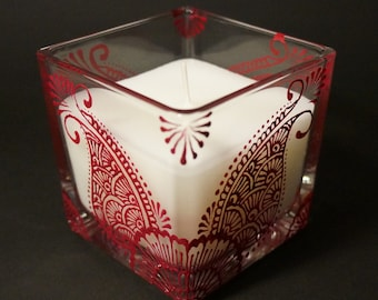 Hand-Painted Mehndi Candle - Glass Encased White Linen & Lily Scented Candle