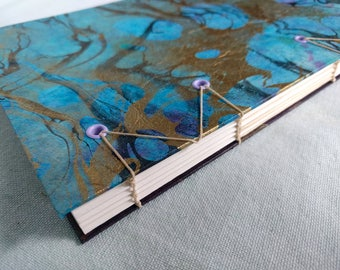 Blue Gold Foil Marbled Handbound Hardcover Coptic Journal Sketchbook Notebook - acid free sketch paper