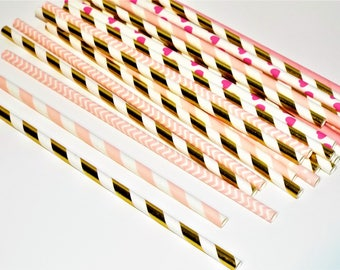 25 Princess Pink and Gold Paper Drinking Straws. Party straws and gender reveal straws.