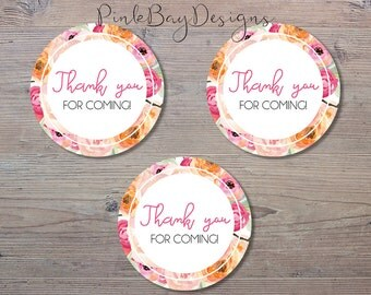 Pink Floral Thank You Tags, Baby Shower Thank You Tag, Circle Thank You Tags, Shower Thank You Tag, Instant Download, Floral Thank You Tag