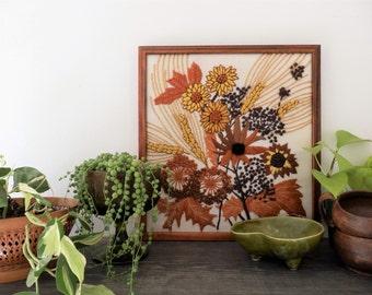 Vintage Crewel Embroidered Floral Autumn Framed, retro, boho decor, orange, yellow, brown, wheat, flowers