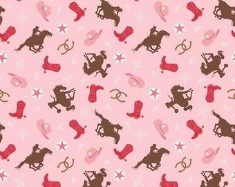 Cowgirl Fabric/ Pink Cowgirl Fabric/ Western Fabric/ Riley Blake Cowgirl/ Fabric by the Yard/ Baby Girl Fabric/ Cowgirl Cotton
