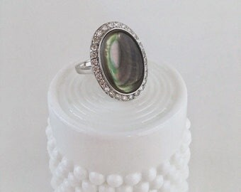 """Sterling Abalone and Crystal Ring Size 9. 1/2""""/Ask for Free Shipping Coupon! *Limited Quantities Available*"""