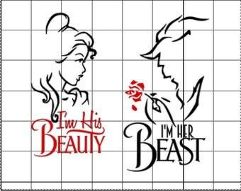 I'm His Beauty I'm Her Beast SVG - Disney Trip Svg - Wedding Couple SVG - SVG File - Silhouette Studio File