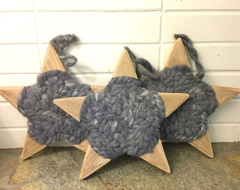 Hand-Spun and Dyed Wool Natural Wood Stars