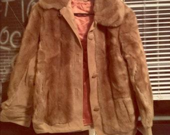 Vintage Fur Coat w/ pink silk lining