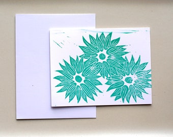 3 Flower - (2 color option) single Card, Single Card and Envelope, Block Print, Handmade, A2, 4.25 x5.5 , Blank