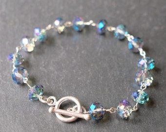 Iridescent Glass Bead Bracelet