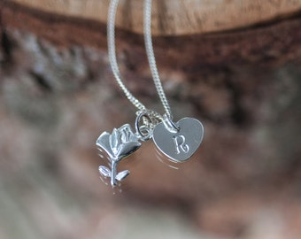Silver Rose Charm Necklace Initial Necklace Personalized Hand Stamped Jewelry Birthday Gift For Her Best Friend Gift Handstamped Necklace