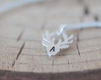 Deer Initial Charm Necklace Personalized Gift for Her Hand Stamped Deer Necklace Birthday Gift for Wife Birthday Jewelry Deer Head Necklace
