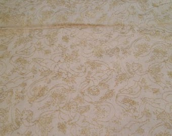 Classic Cotton - Golden Cherubs with Ribbons Print on Ecru Background - 44 x 148
