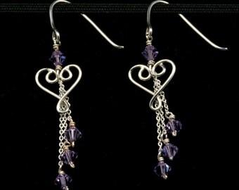 Swarovski Scrolling Heart Dangle Earrings