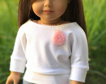 18 inch doll white sweater with pink rose