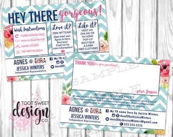 Agnes and Dora Thank You Care Card, Agnes & Dora Consultant Post Card, Chevron Floral Wash Instructions Postcard, Enclosure Mailer PRINTABLE