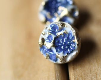 Stud ceramic rounded earrings, handmade, new rustic, flowers, blue and gold