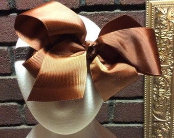 Brown Oversized baby /toddler bow headband
