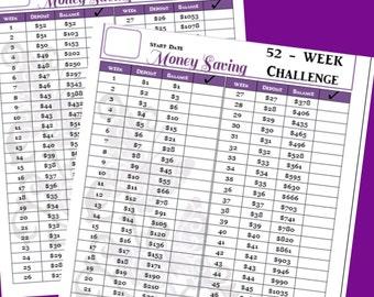 52 Week Savings Challenge Printable - 8.5 x 11