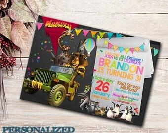 Madagascar Invitation, Madagascar Birthday Party, Dreamworks, Personalized, Printable, Madagascar Party, Digital File, Madagascar Invite