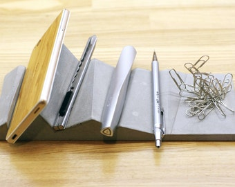 Concrete Cell Phone Dock and Desk Organizer with Strong magnet, Pen Holder, Mountain Folded, Origami Office Organization, Name Card Holder