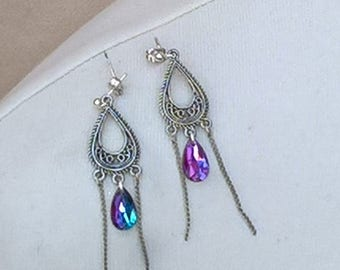 Superb Indian Rainbow chain earrings,Made from recycled materials.
