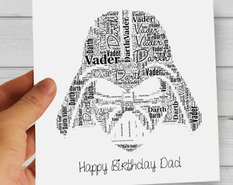 Personalized Darth Vader Gift For Him / Dad - Printable Word Art. Perfect for Star Wars Fans, Father's Day, Birthday, Friendship Day...