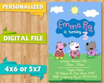 Peppa Pig Birthday Party Invite Invitations Kids Children Party Event Printable CUSTOM