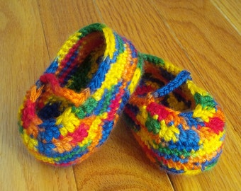 6-12 Month Old Colorful Mary Jane Shoes | Crocheted Baby Booties | Rainbow Baby Shoes | READY TO SHIP