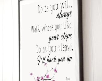Dave Matthews Band, I'll back you up poster - 5x7, 8x10, 11x14 - Typography Song Lyrics - Pinterest Art - Art Decor - DMB - Inspiration